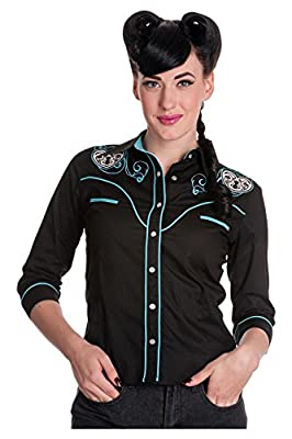 Hell Bunny Western Cowgirl Texas Rodeo Rockabilly Locked Heart Black Shirt