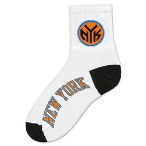 NBA New York Knicks Mens Quarter Socks, White by For Bare Feet