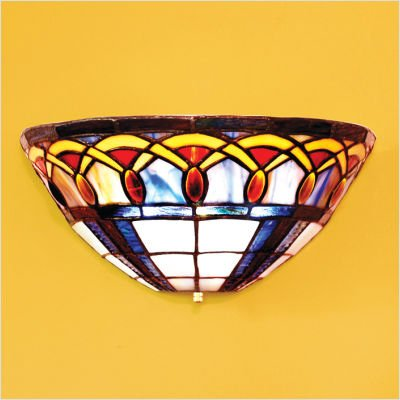 Exciting Lighting AMB1003 Ambience Wireless Wall Sconce, Half Moon Stained Glass