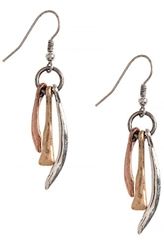 [Antique Patina Wavy Bar Drop 316L Surgical Steel Earrings (Gold/Silver/Copper)] (Wavy Guy Costume)