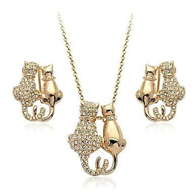 WWM& fascino 18k oro bianco / rosa placcato austria cristallo collana pendente gattino gatto orecchini set . silver