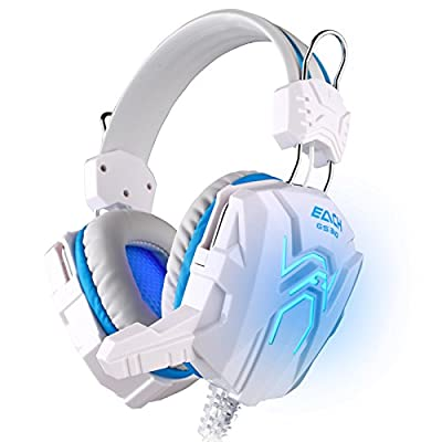 JVICE JV-HD5005WB Gaming Headphone Games Headset with Mic Stereo Bass Breathing LED Light for PC Gamer (White+Blue)