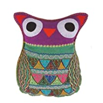 Felt Owl Throw Pillow - Purple
