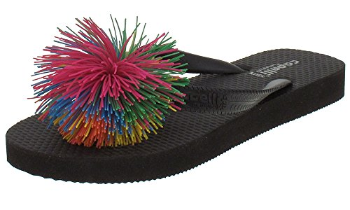 Capelli New York jelly thong with koosh ball trim Girls Flip Flops Black Combo 1/2 (Capelli New York Sandals compare prices)
