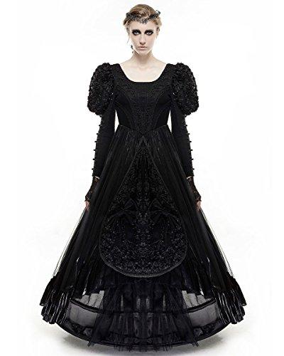 Punk Rave Pyon Pyon Prom Dress lunga nera gotico matrimonio medievale VTG Regency Black XXL - Dimensione womens 48