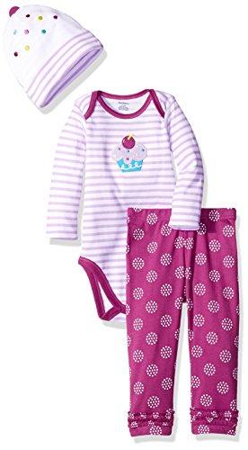 Gerber Girls' 3 Piece Bodysuit, Cupcake, 3-6 Months