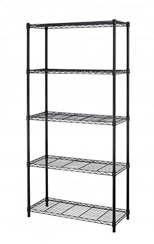 Chrome/Black 5-Shelf Steel Wire Tier Layer Shelving 72