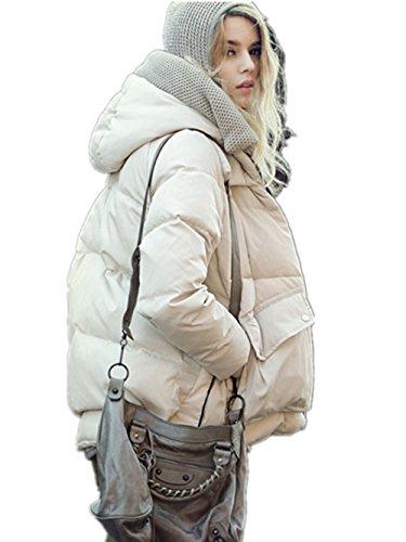 Coffeepop da donna lungo sottile elegante Trench con cappuccio giacca piumino Beige X-Large