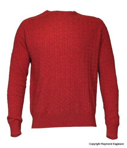 Noluur Mens Cashmere Round Neck Cable Stitch Jumper in Red Size L