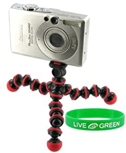 Flexible Tripod (Red / Black) for Olympus FE-46 Digital Camera Black