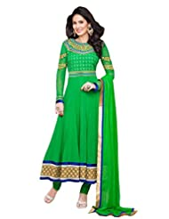 Riti Riwaz Anarkali Style Green Georgette Semi-Stitched Salwar Suit Material | DM9211