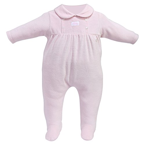 Cream Bebe Velour Gathered Button Design Infant Baby Footie One-piece Footed Romper (0-3 Months, Pink)