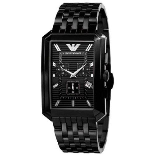 Emporio Armani AR0475 - Reloj de hombre de cuarzo negro con correa de acero (Luz, cristal mineral)
