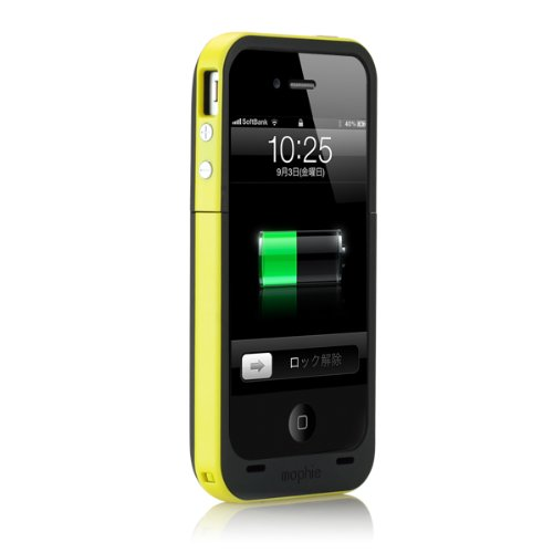 正規品 mophie Juice Pack Plus for iPhone 4S/4 イエロー MOP-PH-14