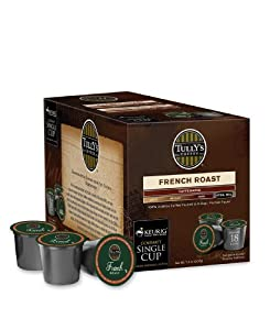 Tully's French Roast Extra Bold Coffee For Keurig K-Cup Brewing Systems 18 K-cups Count