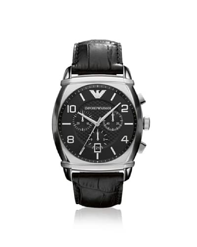 Emporio Armani Men's AR0347 Black Leather Watch As You See