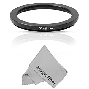 Goja 58-49MM Step-Down Adapter Ring (58MM Lens to 49MM Accessory) + Premium MagicFiber Microfiber Cleaning Cloth