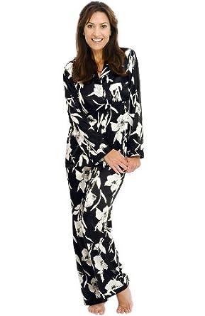 Del Rossa Women's Classic Satin Pajama Set - Long Pjs, Small Black Floral Print (A0750P60SM)