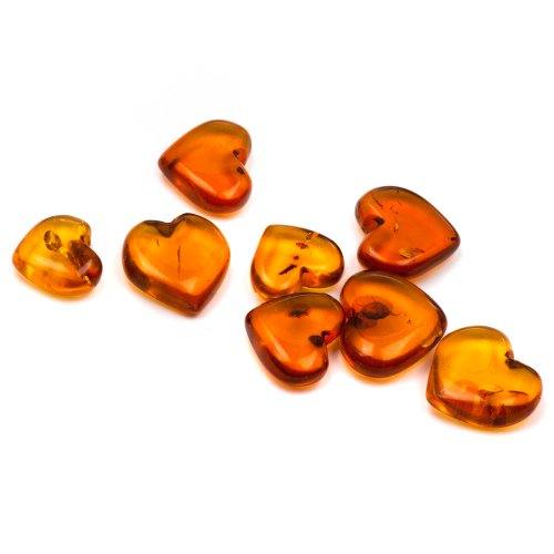 Baltic Amber Fun Love Hearts Set for Large Family 8 pcs Assorted Sizes
