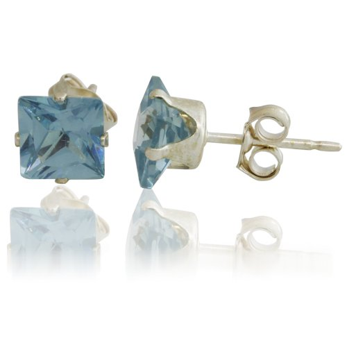 Princess Cut Blue Cz Sterling Silver Stud Earrings