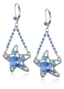 """Betsey Johnson """"Iconic Blue Sea"""" Star Fish Chandelier Drop Earrings"""