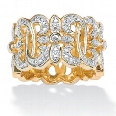 ParisJewelry 1/4 Carat Genuine Diamond Cross 18k Gold Filigree Ring