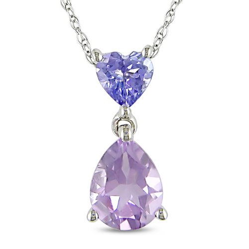 10K White Gold 1 1/3 CT TGW Amethyst and Tanzanite Fashion Pendant With Chain
