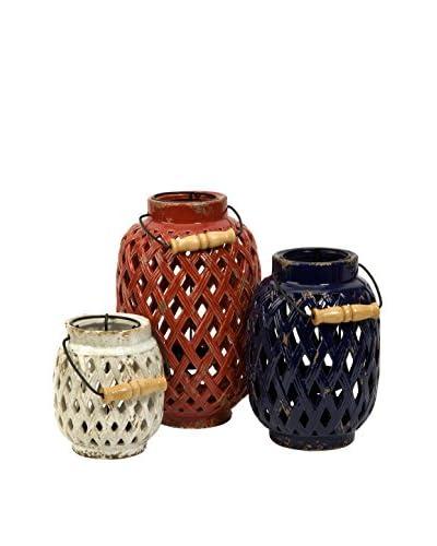 Set Of 3 Bailey Lattice Lanterns, Red/White/Blue