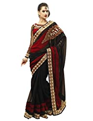 Admyrin Women's Black And Maroon Georgette Saree