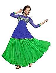 Parinaaz Blue soft net fabric Unsticht Dressmaterial