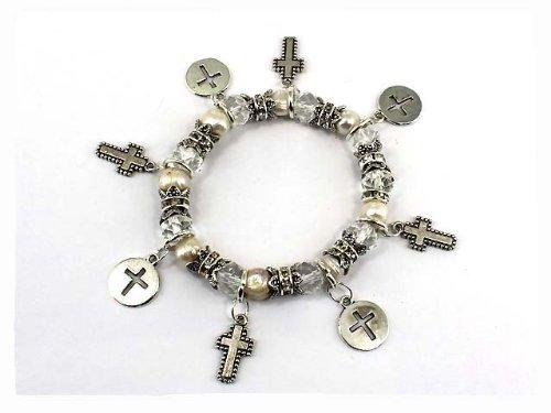 4030296 Christian Scripture Religious Bracelet Charms Holy Bible Crosses Cross