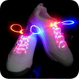 Makerfire In Pair Blue And Orange Assorted Led Light Up Waterproof Shoelaces - 3 Modes (On, Strobe Flashing), 32 Inches Long, Battery Powered