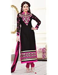 London Beauty Latest Fashion Designer Black And Pink Salwar Suit