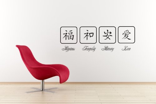 Chinese Symbols - Happiness, Tranqulity, Love, Harmony wall art decal by Vinylworld