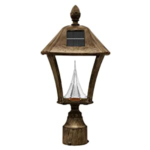 Gama Sonic Baytown Solar Outdoor LED Light Fixture, 3-Inch Fitter for