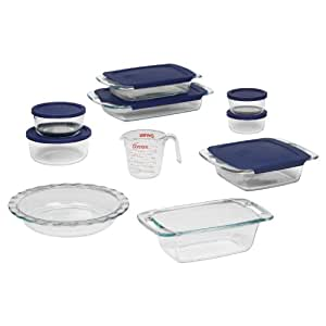 Pyrex Easy Grab 17-Piece Glass Bakeware Set with Blue Lids