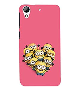 printtech Funny Yellow Cartoon Group Back Case Cover for HTC Desire 728G