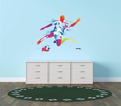 Design with Vinyl Hope 77-414 As Seen Decor Item Vinyl Wall Sticker Colorful Soccer Player Kicking Ball Sports Team Boy Girl Living Room Bedroom, 12-Inch x 12-Inch