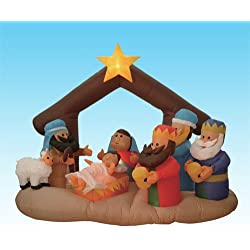 6 Foot Long Inflatable Nativity Scene with Three Wise Men