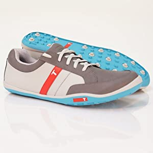 TRUE linkswear Men's True Phoenix Golf Shoes (Grey/Charcoal/Electric Blue, 11.5 M)