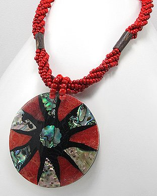 Island Style Red Seed Bead Shell Necklace -Gems Couture
