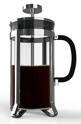 Premium Large French Press for Coffee, Tea, Infuse Your Favorite Beer with Delicious Flavors. 8 Cups in Steel and Heat Resistant Glass. Multi-layered Filter Blocks Grounds For A Smooth Drink. (Premium French Press compare prices)
