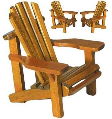 Adirondack Chair Miniature Replica (Weathered Look) (Made of Wood) 4