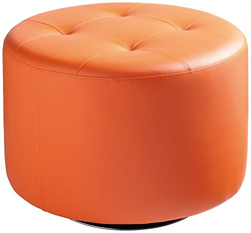Sunpan Modern Domani Swivel Ottoman, Large, Orange