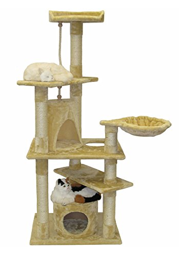 Go Pet Club Cat Furniture Condo, 62-Inch, Beige