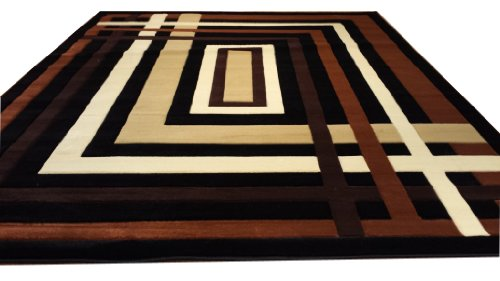 J704 Contemporary Modern Jagged Maze Pattern Black Brown Hand Carved 5x8 Actual Size 5'3x7'2 Rug