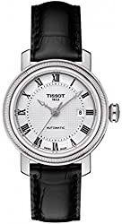 Tissot Bridgeport Automatic Silver Dial Black Leather Ladies Watch T0970071603300