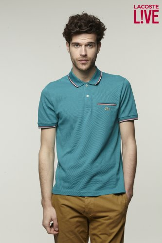 L!VE Short Sleeve Semi Fancy Tipped Pique Polo with Pocket