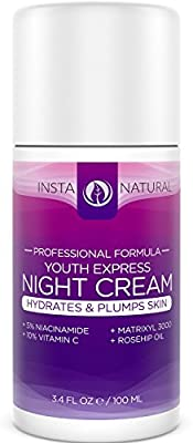 InstaNatural Night Cream - Best Moisturizer for Face - With 5% Niacinamide, Vitamin B3, Vitamin C, Argan & Rosehip Oil - Natural & Organic - Reduces Appearance of Acne, Skin Spots & Wrinkles - 3.4 OZ