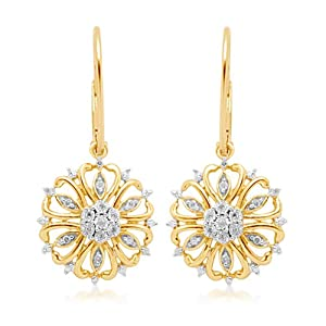 10k Yellow Gold Snowflake Diamond Dangle Earrings